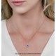 Sapphire and Diamond Halo Round Asteria Necklace 18KW Gold - image 2