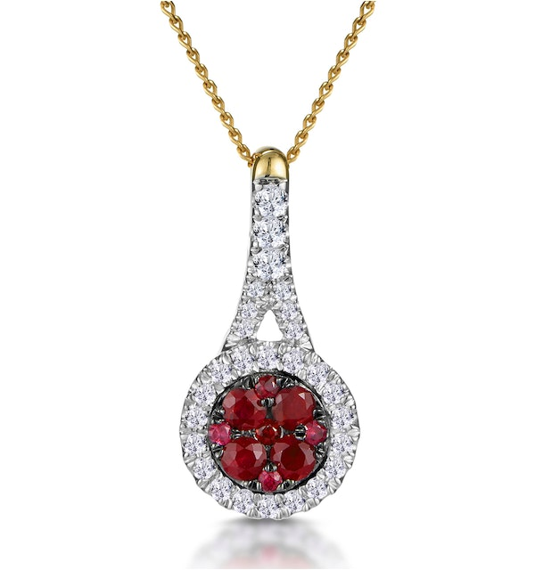 Ruby and Diamond Halo Circle Necklace in 18K Gold - Asteria Collection - image 1