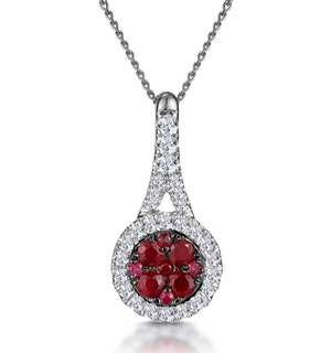 Ruby and Diamond Halo Circle Necklace in 18KW Gold Asteria Collection