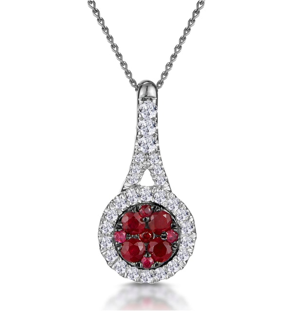 Ruby and Diamond Halo Circle Necklace in 18KW Gold Asteria Collection - image 1