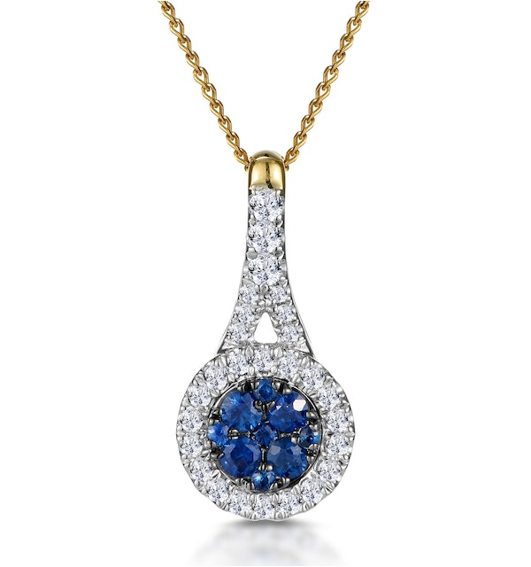 Sapphire and Diamond Round Halo Necklace 18K Gold Asteria Collection - image 1