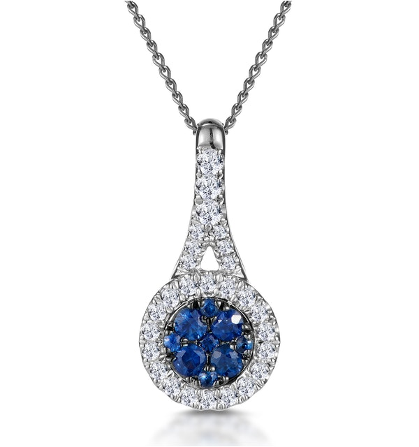 Sapphire and Diamond Halo Round Asteria Necklace 18KW Gold - image 1