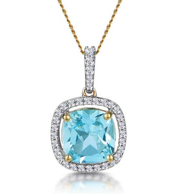 2ct Blue Topaz and Diamond Halo Necklace 18K Gold - Asteria Collection - image 1