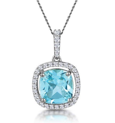 2ct Blue Topaz and Diamond Halo Asteria Necklace 18KW Gold - image 1