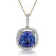 2ct Tanzanite and Diamond Halo Necklace in 18K Gold Asteria Collection - image 1