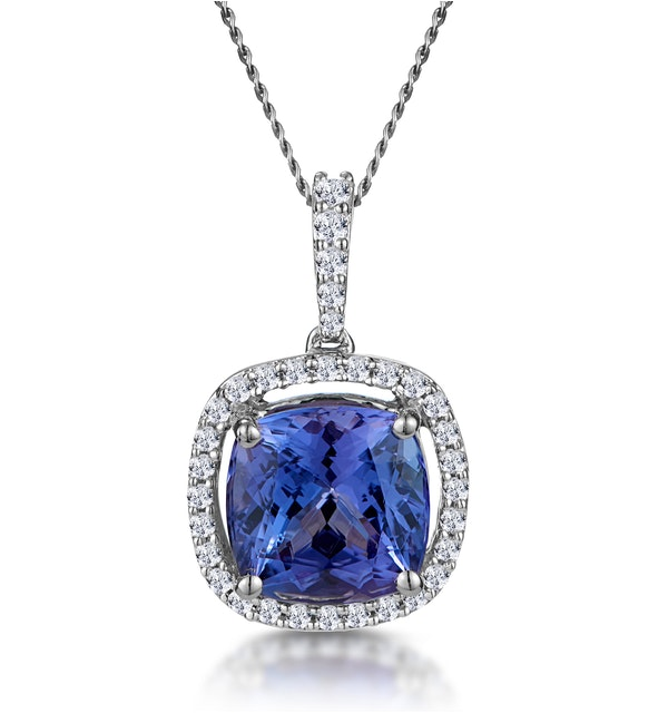 2ct Tanzanite and Diamond Halo Necklace 18KW Gold Asteria Collection - image 1