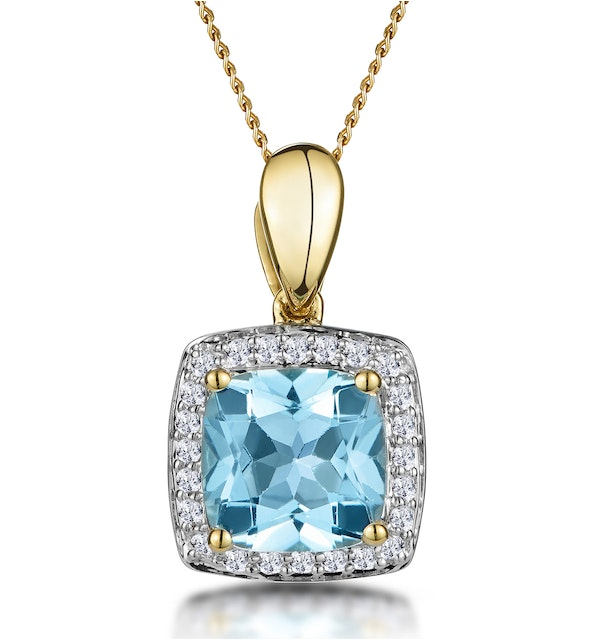 2ct Blue Topaz and Diamond Halo Square Asteria Necklace in 18K Gold - image 1
