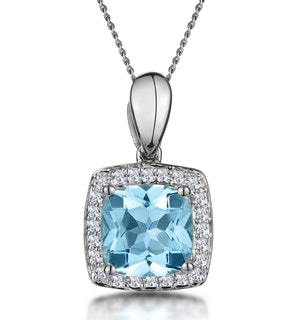 2ct Blue Topaz and Diamond Halo Square Asteria Necklace in 18KW Gold