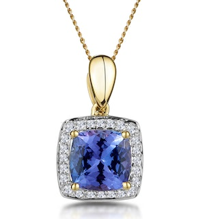 2ct Tanzanite and Diamond Halo Square Asteria Necklace in 18K Gold