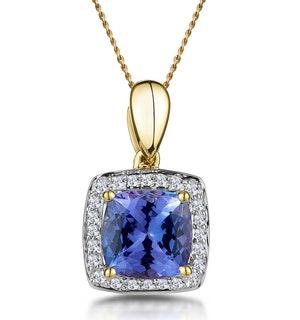 2ct Tanzanite and Diamond Halo Square Asteria Necklace in 18K Gold