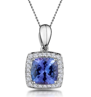 2ct Tanzanite and Diamond Halo Square Asteria Necklace in 18KW Gold