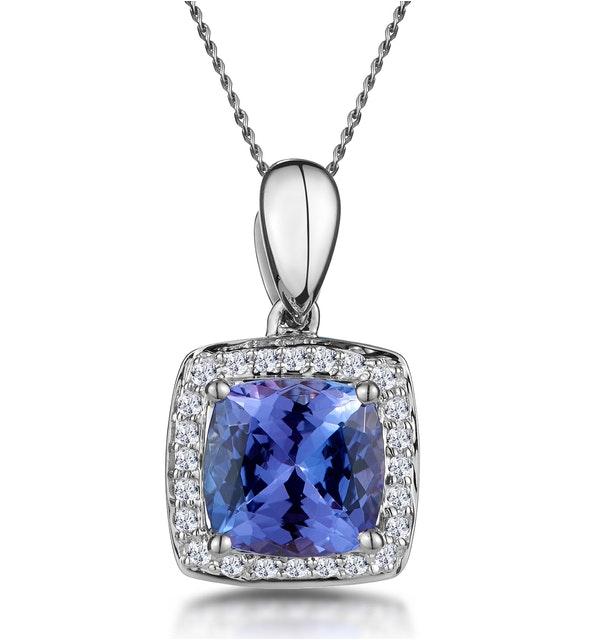 2ct Tanzanite and Diamond Halo Square Asteria Necklace in 18KW Gold - image 1