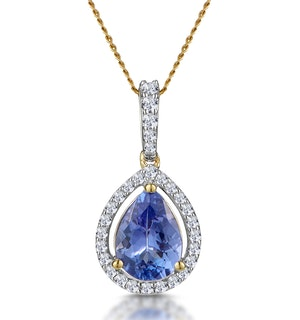Tanzanite and Diamond Halo Pear Drop Asteria Necklace in 18K Gold