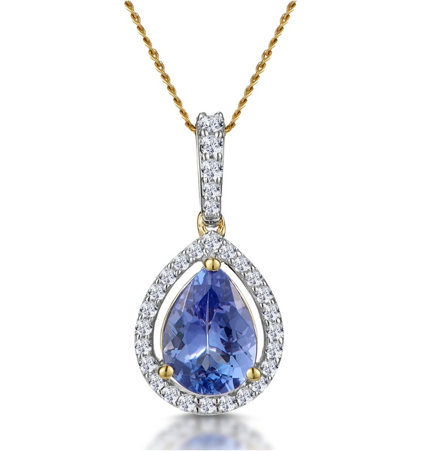 Tanzanite and Diamond Halo Pear Drop Asteria Necklace in 18K Gold - image 1