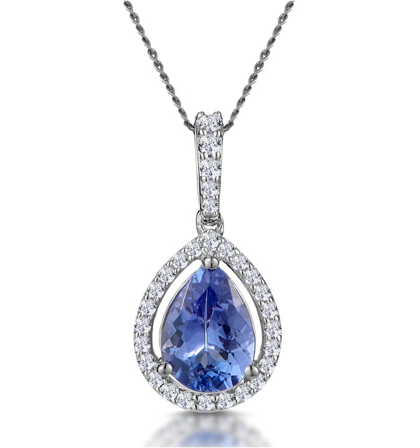 Tanzanite and Diamond Halo Pear Drop Asteria Necklace in 18KW Gold - image 1