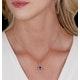 Tanzanite and Diamond Halo Pear Drop Asteria Necklace in 18K Gold - image 2