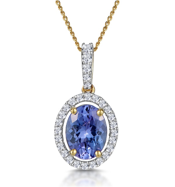 1ct Tanzanite and Diamond Halo Oval Asteria Necklace in 18K Gold - image 1