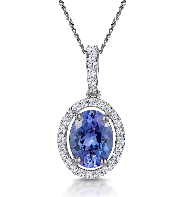 1ct Tanzanite and Diamond Halo Oval Asteria Necklace in 18KW Gold - image 1