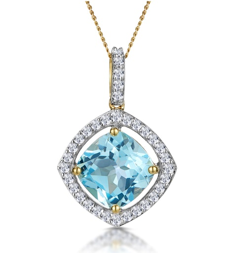 5.40ct Blue Topaz and Diamond Halo Asteria Necklace in 18K Gold - image 1