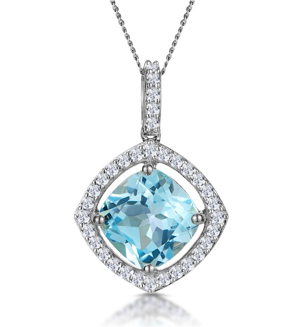 5.40ct Blue Topaz and Diamond Halo Asteria Necklace in 18K White Gold - image 1