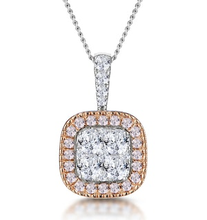 Diamond and Pink Diamond Halo Cluster Necklace - Asteria Collection