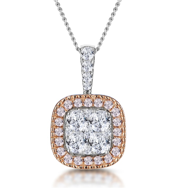 Diamond and Pink Diamond Halo Cluster Necklace - Asteria Collection - image 1