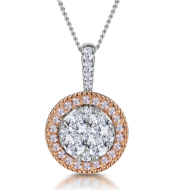 Diamond and Pink Diamond Halo Circle Necklace - Asteria Collection - image 1