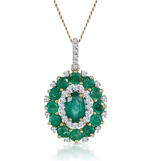 1.40ct Emerald Asteria Diamond Halo Pendant Necklace in 18K Gold