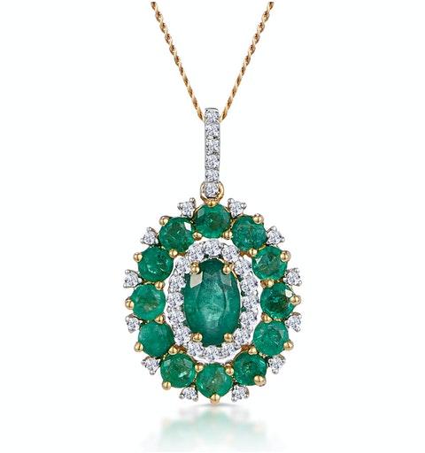 1.40ct Emerald Asteria Collection Diamond Halo Pendant in 18K Gold - image 1