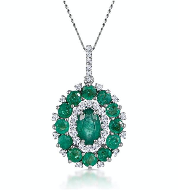 1.40ct Emerald Asteria Diamond Halo Pendant Necklace 18K White Gold - image 1