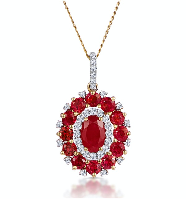 1.50ct Ruby Asteria Collection Diamond Halo Pendant Necklace 18K Gold - image 1