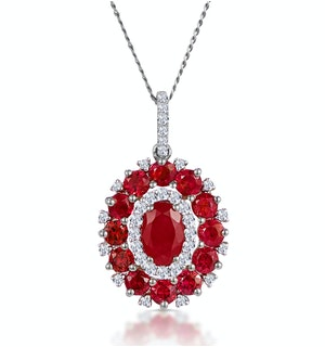 1.50ct Ruby Asteria Diamond Halo Pendant Necklace in 18K Gold White