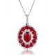 1.50ct Ruby Asteria Collection Diamond Halo Pendant in 18K Gold White - image 1