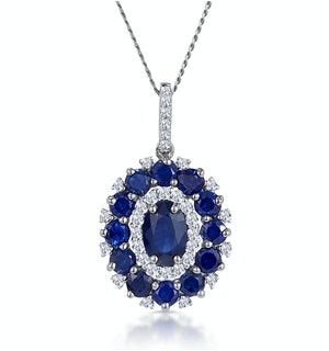 1.40ct Sapphire Asteria Diamond Halo Pendant Necklace 18K White Gold