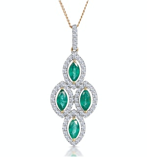 1ct Emerald Asteria Diamond Drop Pendant Necklace in 18K Gold