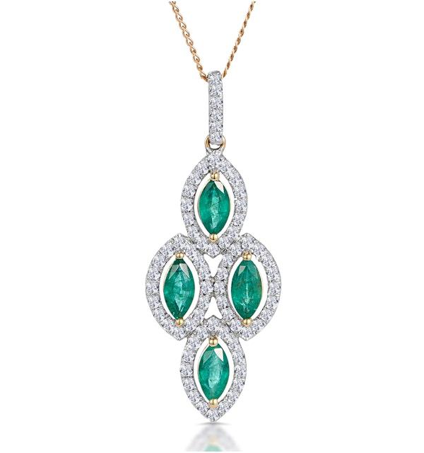 1ct Emerald Asteria Diamond Drop Pendant Necklace in 18K Gold - image 1