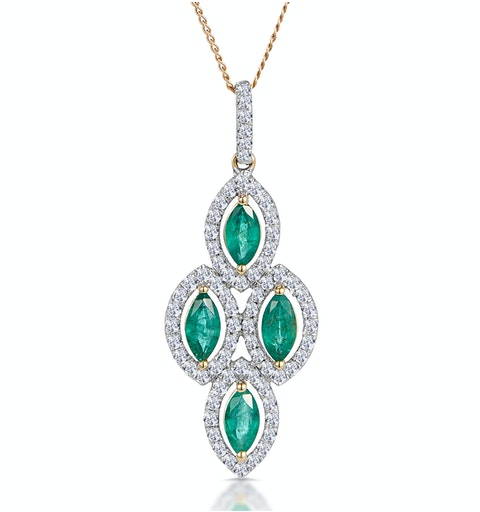 1ct Emerald Asteria Collection Diamond Drop Pendant in 18K Gold - image 1
