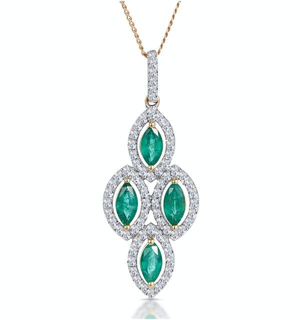1ct Emerald Asteria Collection Diamond Drop Pendant in 18K Gold - image 1