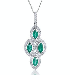 1ct Emerald Asteria Diamond Drop Pendant Necklace in 18K White Gold