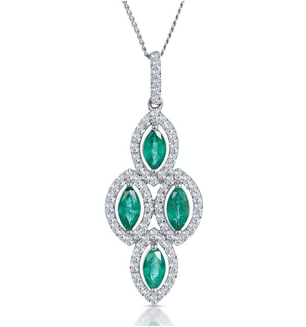1ct Emerald Asteria Diamond Drop Pendant Necklace in 18K White Gold - image 1