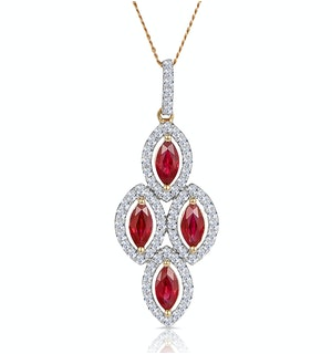 1.20ct Ruby Asteria Diamond Drop Pendant Necklace in 18K Gold