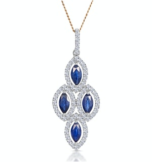 1.20ct Sapphire Asteria Diamond Drop Pendant Necklace in 18K Gold