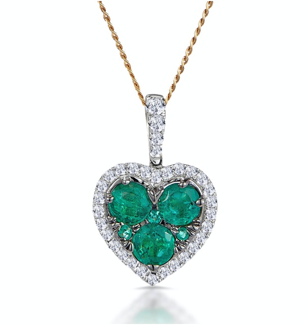 0.80ct Emerald Asteria Collection Diamond Heart Pendant in 18K Gold - image 1