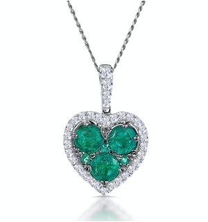 0.80ct Emerald Asteria Diamond Heart Pendant Necklace 18K White Gold