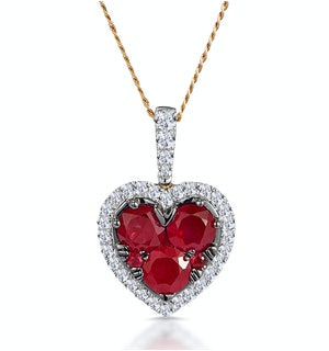0.80ct Ruby Asteria Diamond Heart Pendant Necklace in 18K Gold