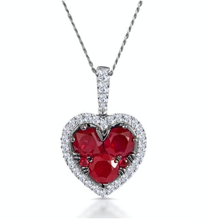 0.80ct Ruby Asteria Diamond Heart Pendant Necklace in 18K White Gold