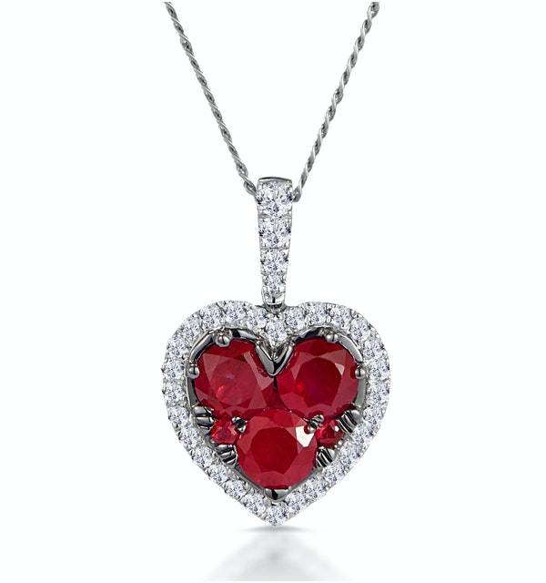 0.80ct Ruby Asteria Diamond Heart Pendant Necklace in 18K White Gold - image 1
