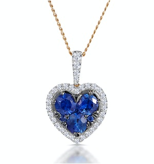 0.80ct Sapphire Asteria Diamond Heart Pendant Necklace in 18K Gold