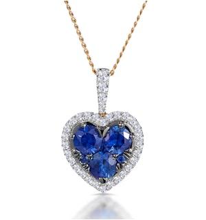 0.80ct Sapphire Asteria Lab Diamond Heart Pendant Necklace in 9K Gold
