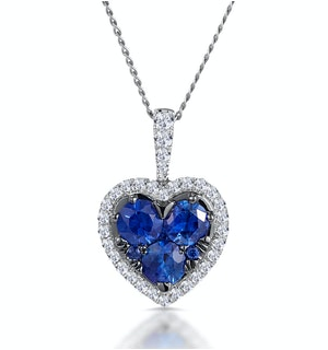 0.80ct Sapphire Asteria Diamond Heart Pendant Necklace 18K White Gold